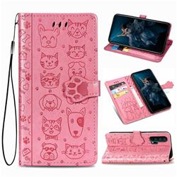 Embossing Dog Paw Kitten and Puppy Leather Wallet Case for Huawei Honor 20 Pro - Pink