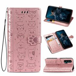 Embossing Dog Paw Kitten and Puppy Leather Wallet Case for Huawei Honor 20 Pro - Rose Gold