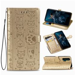 Embossing Dog Paw Kitten and Puppy Leather Wallet Case for Huawei Honor 20 Pro - Champagne Gold