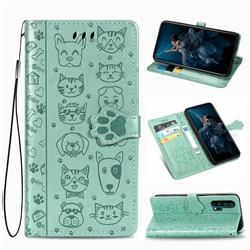 Embossing Dog Paw Kitten and Puppy Leather Wallet Case for Huawei Honor 20 Pro - Green