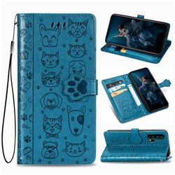 Embossing Dog Paw Kitten and Puppy Leather Wallet Case for Huawei Honor 20 Pro - Blue