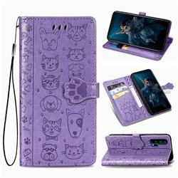 Embossing Dog Paw Kitten and Puppy Leather Wallet Case for Huawei Honor 20 Pro - Purple