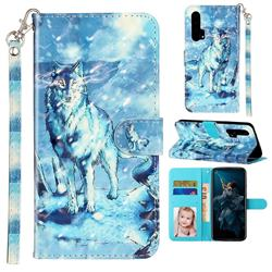 Snow Wolf 3D Leather Phone Holster Wallet Case for Huawei Honor 20 Pro