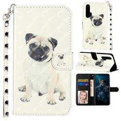 Pug Dog 3D Leather Phone Holster Wallet Case for Huawei Honor 20 Pro