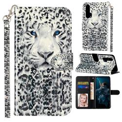 White Leopard 3D Leather Phone Holster Wallet Case for Huawei Honor 20 Pro