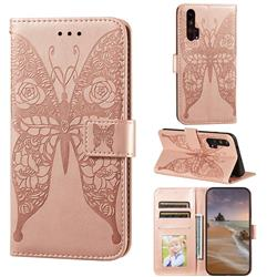 Intricate Embossing Rose Flower Butterfly Leather Wallet Case for Huawei Honor 20 Pro - Rose Gold