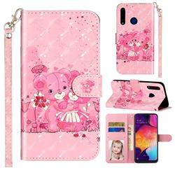 Pink Bear 3D Leather Phone Holster Wallet Case for Huawei Honor 20i