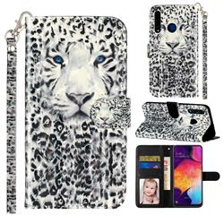 White Leopard 3D Leather Phone Holster Wallet Case for Huawei Honor 20i