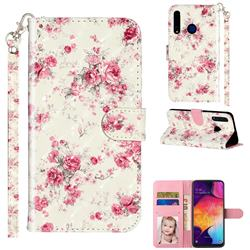 Rambler Rose Flower 3D Leather Phone Holster Wallet Case for Huawei Honor 20i