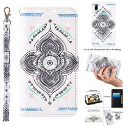 Mandala Totem 3D Painted Leather Wallet Case for Huawei Honor 20i