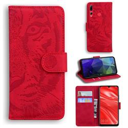 Intricate Embossing Tiger Face Leather Wallet Case for Huawei Honor 20i - Red