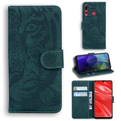 Intricate Embossing Tiger Face Leather Wallet Case for Huawei Honor 20i - Green