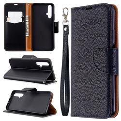 Classic Luxury Litchi Leather Phone Wallet Case for Huawei Honor 20s - Black
