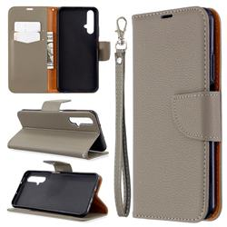 Classic Luxury Litchi Leather Phone Wallet Case for Huawei Honor 20s - Gray