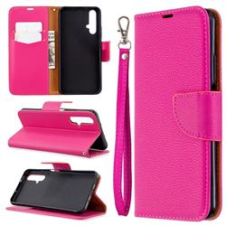 Classic Luxury Litchi Leather Phone Wallet Case for Huawei Honor 20s - Rose