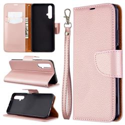 Classic Luxury Litchi Leather Phone Wallet Case for Huawei Honor 20s - Golden