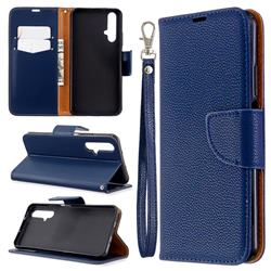 Classic Luxury Litchi Leather Phone Wallet Case for Huawei Honor 20s - Blue