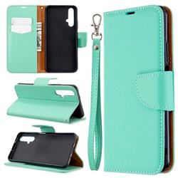 Classic Luxury Litchi Leather Phone Wallet Case for Huawei Honor 20s - Green