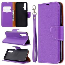 Classic Luxury Litchi Leather Phone Wallet Case for Huawei Honor 20s - Purple