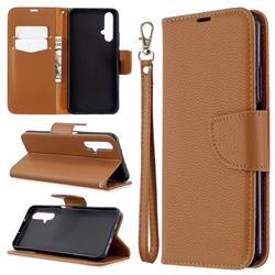 Classic Luxury Litchi Leather Phone Wallet Case for Huawei Honor 20s - Brown