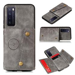 Retro Multifunction Card Slots Stand Leather Coated Phone Back Cover for Huawei Honor 30 - Gray