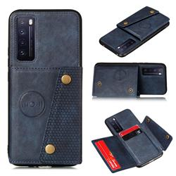 Retro Multifunction Card Slots Stand Leather Coated Phone Back Cover for Huawei Honor 30 - Blue