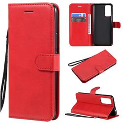 Retro Greek Classic Smooth PU Leather Wallet Phone Case for Huawei Honor 30 - Red