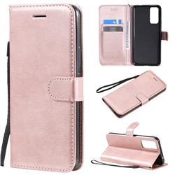 Retro Greek Classic Smooth PU Leather Wallet Phone Case for Huawei Honor 30 - Rose Gold