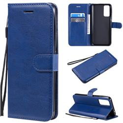 Retro Greek Classic Smooth PU Leather Wallet Phone Case for Huawei Honor 30 - Blue