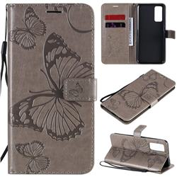 Embossing 3D Butterfly Leather Wallet Case for Huawei Honor 30 - Gray