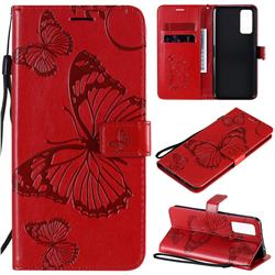 Embossing 3D Butterfly Leather Wallet Case for Huawei Honor 30 - Red