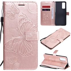 Embossing 3D Butterfly Leather Wallet Case for Huawei Honor 30 - Rose Gold