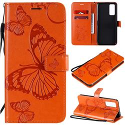 Embossing 3D Butterfly Leather Wallet Case for Huawei Honor 30 - Orange