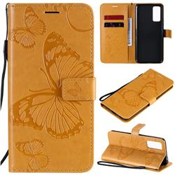 Embossing 3D Butterfly Leather Wallet Case for Huawei Honor 30 - Yellow