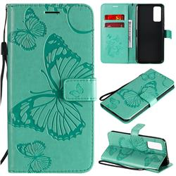 Embossing 3D Butterfly Leather Wallet Case for Huawei Honor 30 - Green