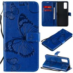 Embossing 3D Butterfly Leather Wallet Case for Huawei Honor 30 - Blue
