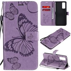 Embossing 3D Butterfly Leather Wallet Case for Huawei Honor 30 - Purple