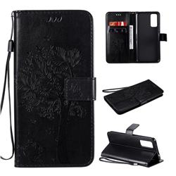 Embossing Butterfly Tree Leather Wallet Case for Huawei Honor 30 - Black