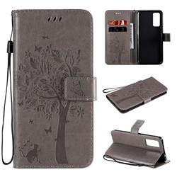 Embossing Butterfly Tree Leather Wallet Case for Huawei Honor 30 - Grey