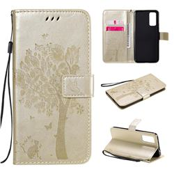 Embossing Butterfly Tree Leather Wallet Case for Huawei Honor 30 - Champagne