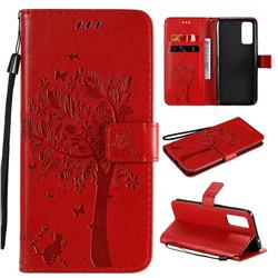 Embossing Butterfly Tree Leather Wallet Case for Huawei Honor 30 - Red