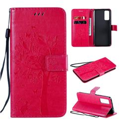 Embossing Butterfly Tree Leather Wallet Case for Huawei Honor 30 - Rose