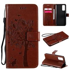Embossing Butterfly Tree Leather Wallet Case for Huawei Honor 30 - Coffee
