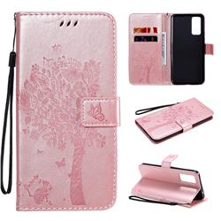 Embossing Butterfly Tree Leather Wallet Case for Huawei Honor 30 - Rose Pink