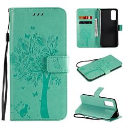 Embossing Butterfly Tree Leather Wallet Case for Huawei Honor 30 - Cyan