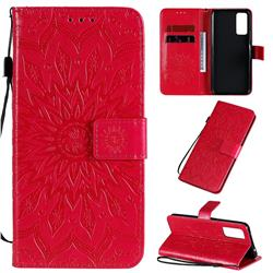 Embossing Sunflower Leather Wallet Case for Huawei Honor 30 - Red