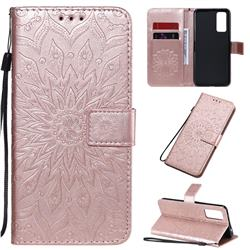 Embossing Sunflower Leather Wallet Case for Huawei Honor 30 - Rose Gold