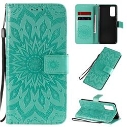 Embossing Sunflower Leather Wallet Case for Huawei Honor 30 - Green