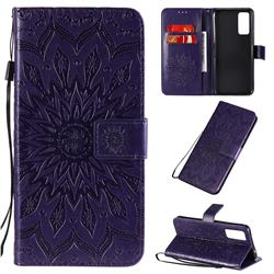 Embossing Sunflower Leather Wallet Case for Huawei Honor 30 - Purple