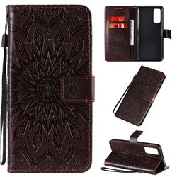 Embossing Sunflower Leather Wallet Case for Huawei Honor 30 - Brown